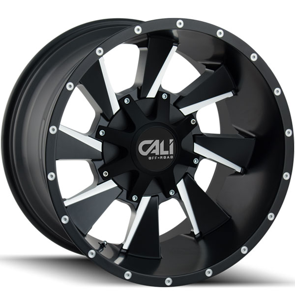 Cali Offroad Distorted Satin Black with Milled Spokes