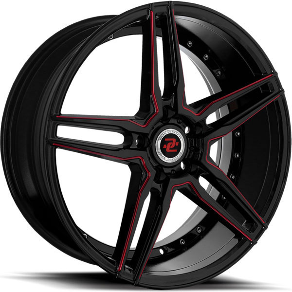 Drag Concepts R33 Gloss Black with Red Milled Spokes