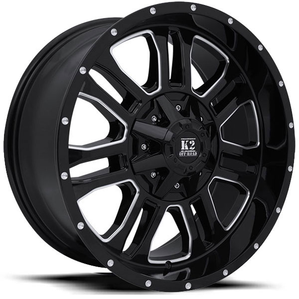 K2 OffRoad K02 Thor Gloss Black with Milled Spokes