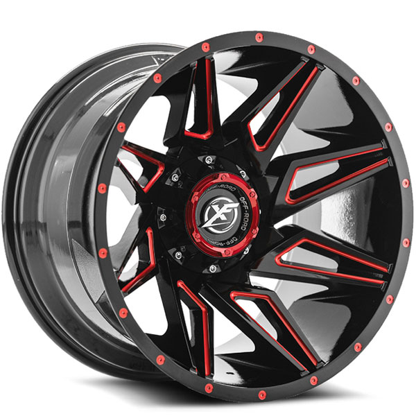 XF Off-Road XF-218 Gloss Black with Red Milled Spokes